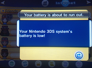 Pokemon X and Y Play Search System Battery Low Notice