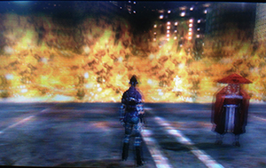 Red flames seal at the Sunshine Front in Ikebukuro - Shin Megami Tensei IV