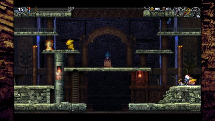 Crouching while attacking an enemy in LA-MULANA 2.