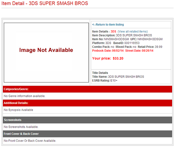 Super Smash Bros. for 3DS Release Date and Price leak