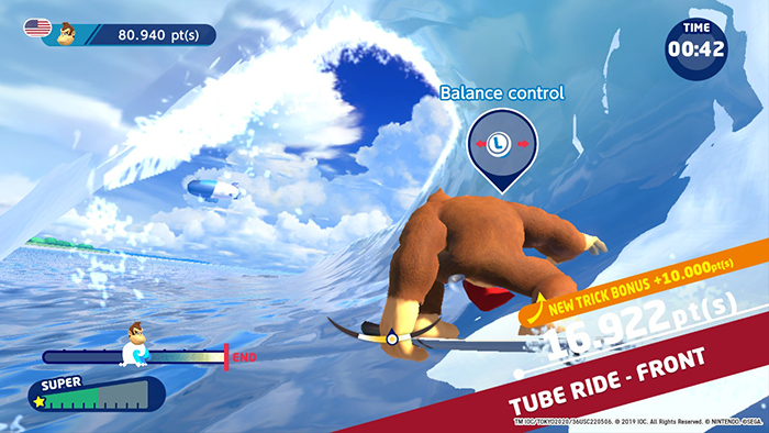surfing minigame from Mario & Sonic at the Olympic Games Tokyo 2020