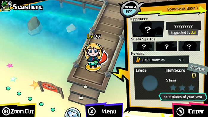The map and battle info screen in Sushi Striker: The Way of Sushido