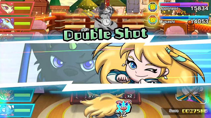 Kumaten's skill Double Shot activation in Sushi Striker: The Way of Sushido
