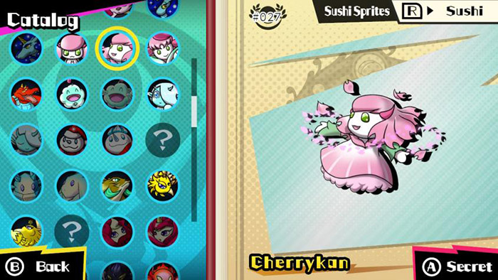 The catalog with many Sushi Sprites in Sushi Striker: The Way of Sushido