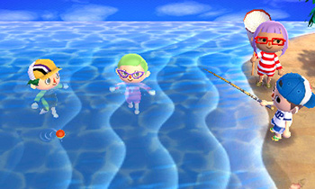 Two players swimming, one fishing, and another observing - Animal Crossing: New Leaf
