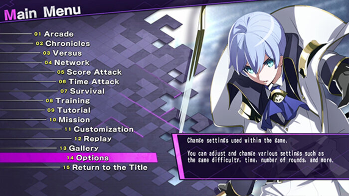 Under Night In-Birth Exe: Late [cl-r]'s main menu