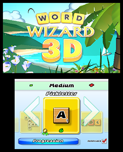 Word Wizard 3D Start Screen - 3DS