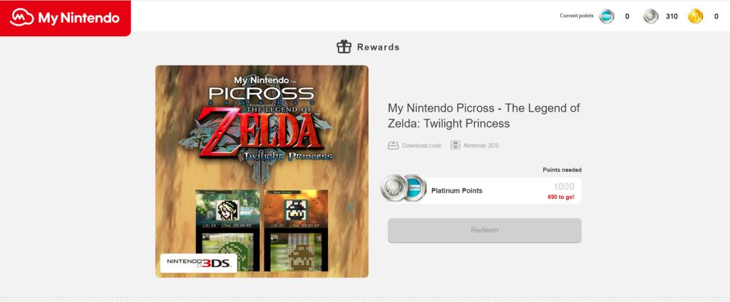 The Legend of Zelda picross, a reward of the My Nintendo program.